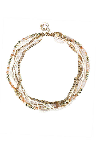 Rhinestone Beads Six Strand Peach Party Necklace image1