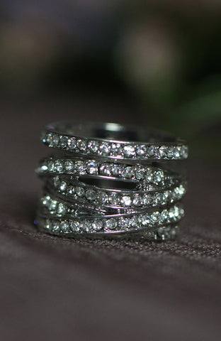 Illusion Stackable Rhinestone Strands Wide Band Ring image1