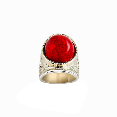 Byzantine Artifact Vermillion Rhinestone Saddle Ring image1