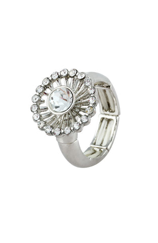 Dandelion White Rhinestone Sectional Band Simple Ring image1