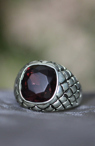 Ribena Ruby Crosshatch Solitaire Ring image1