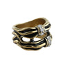 Interwoven Black Gold Gleam Stack Effect Ring image3