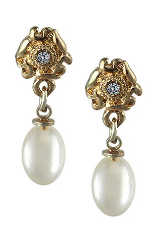 Fancy Emblem Base Pearl Gemstone Drop Dangle Simple Earrings image1