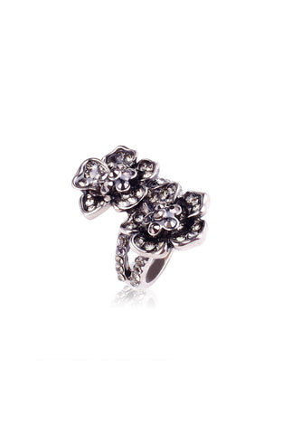 Twin Flowers Charcoal Burnished Saddle Ring image1