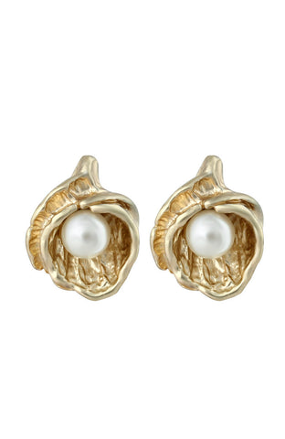 Gold Tint Oyster Shell Pearl Beadstone Fancy Stud Earrings image1