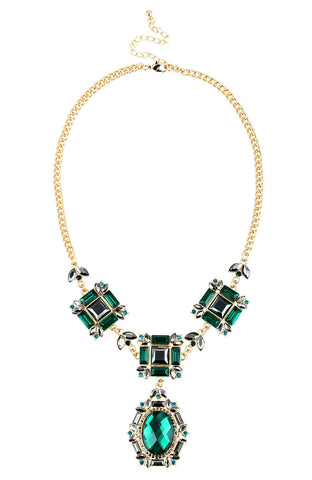 Enchantress Green Crown Jewels Statement Choker Necklace image1