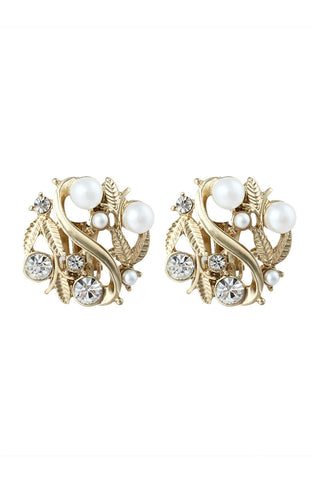 Clip On Leaf Motif Pearl and Rhinestones Statement Earrings image1