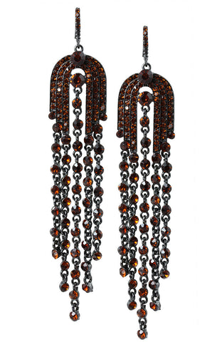 Grand Arches Orangestones Long Tassel Statement Earrings image1