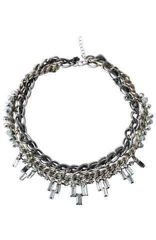 Tonal Volupt Fabric Metal Mix Pastron Statement Necklace image1