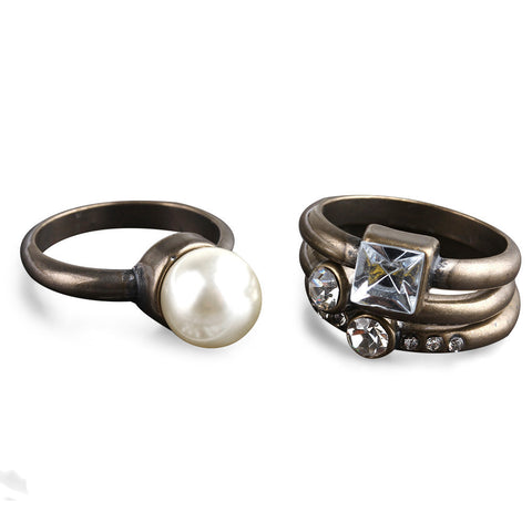 Pearl Facet Jewel Simple Ring Set image1