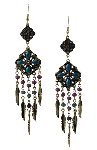 Dusk Forest Bead Gem Tassel Statement Earrings image1