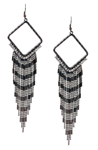 Future Renaissance Rhinestone Border Fancy Tassel Statement Earrings image1
