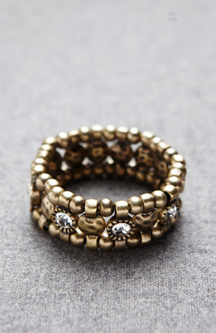 Bronze Patina Flickering Rhinestone Double Sided Bracelet image1