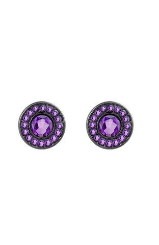 Punch Purple Centerpiece Rhinestone Stud Earrings image1