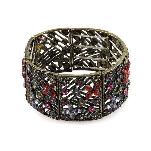 Garden Lattice Flower Gemstone Statement Bracelet image1