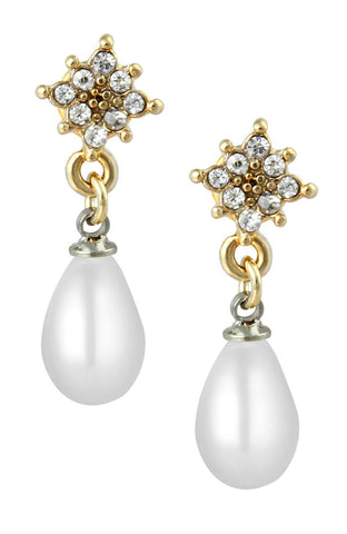 Fancy Prong Base Pearl Gemstone Drop Dangle Simple Earrings image1