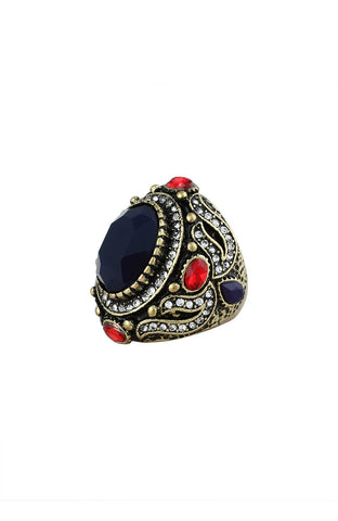 Abyss Blue Treasure Encrusted Gem Statement Ring image1