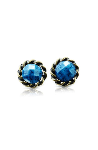 Cerulean Cruller Border Faceted Rhinestone Earrings image1