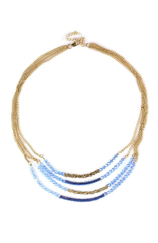 Endless Blue Translucent Beaded Gem Choker Necklace image1