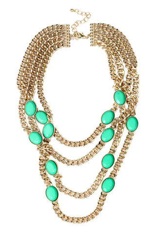 All Seeing Jade Color Rhinestone Party Necklace image1
