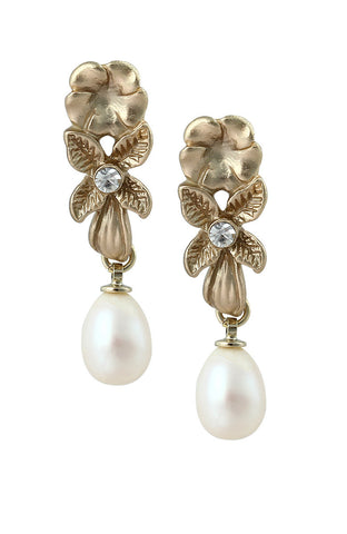 Gold Hue Pearl Flower Drop Dangle Statement Earrings image1