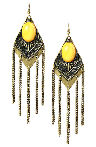 Matriarch Yolk Bead Emblem Plate Fringe Statement Earrings image1