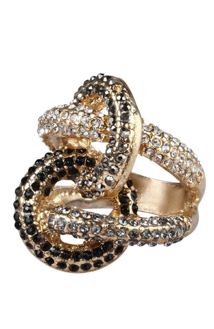 Infinity Knot on Knot Rhinestone Statement Ring image1