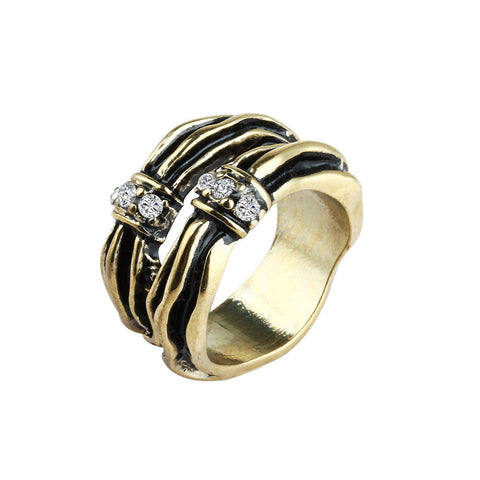 Interwoven Black Gold Gleam Stack Effect Ring image1