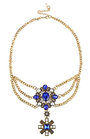 Merlin Blue Jewel Ceremonial Medallion Statement Necklace image1