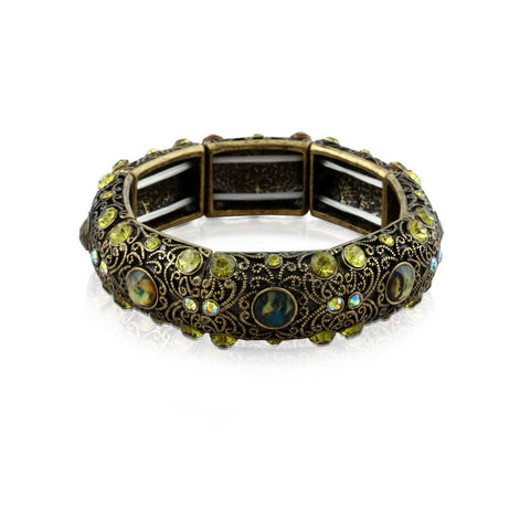 Hanza Peacock Morph Motif Gemstone Bangle Bracelet image1