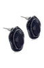 Oval Black Faceted Rhinestone Fringed Earrings image2