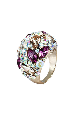 Violet Petal Gems Cocktail Party Ring image1