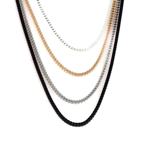 Black Gold Silver Tone Metal Simple Necklace Set image1