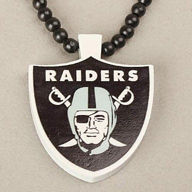 Raiders Pattern Wood Necklace