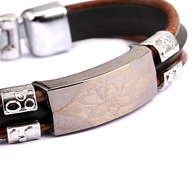 Punk Style Lotus Brown Leather Bracelet(1 Pc)