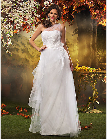 A-line Princess One Shoulder Tulle Wedding Dress