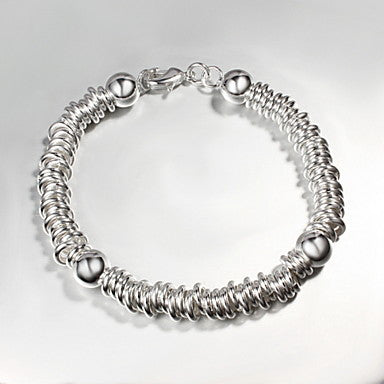 European Like A Spring 20cm Men's Silver Silver Plated Chain & Link Bracelet(1 Pc)