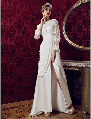 A-line Jewel Sweep/Brush Train Satin And Lace Wedding Dress (699562)