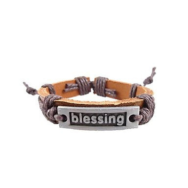 Lureme Vintage Style Men's Blessing Sign Leather Bracelet