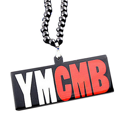 Fashion Exaggerated Euramerican YMCMB Pendant Black Acrylic Pendant Necklace(1 Pc)