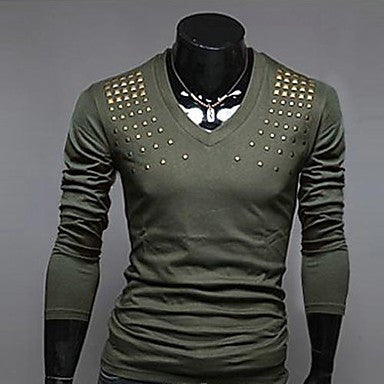 Men's V Neck Dianmonade Long Sleeve T Shirt