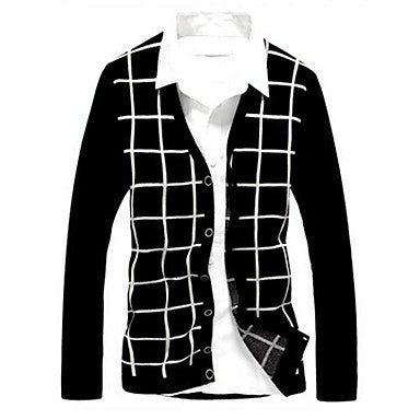 Men's New Winter High Quality Checked Sweater Cardigan