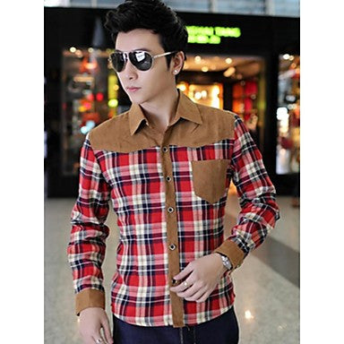 Men's Handsome Contrast Color Plaids Shirts