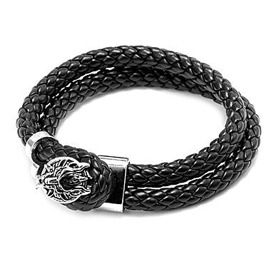 Punk Style Wolf Head Black Leather Bracelet(1 Pc)