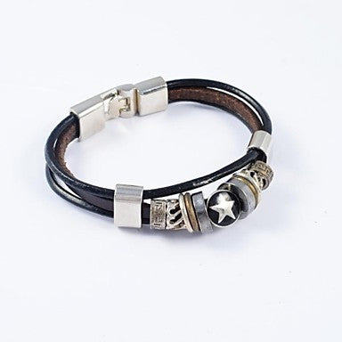 Vintage Men's Stainless Steel Ornament PU Leather Bracelets