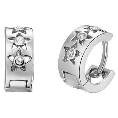 Gifr for Boyfriend High Quality Silver Plated Star Cut Men's Stud Earrings(1 pr)