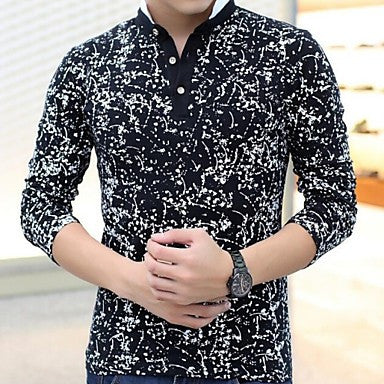 Men's Autumn New Korean Cotton Long Sleeved T-shirt