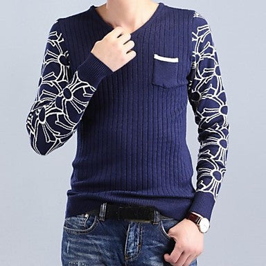 Men's Autumn And Winter Fashion V Neck Knit Sweater