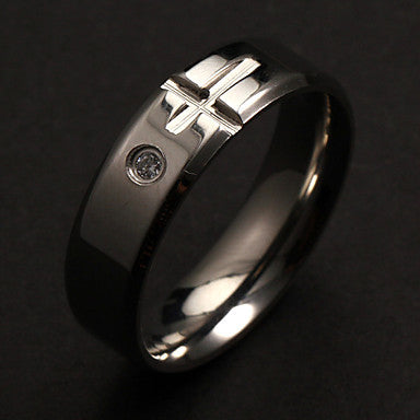 Fashion Individual Men's Silver Stainless Steel Band Rings(1 Pc)