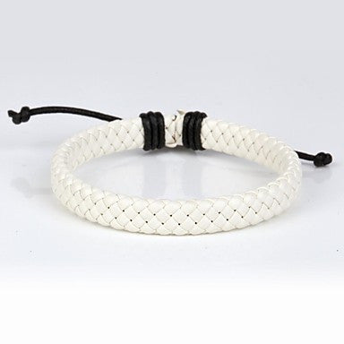 Comfortable Adjustable Men's Leather Cool Hard Bracelet Snow White Braided Leather(1 Piece)